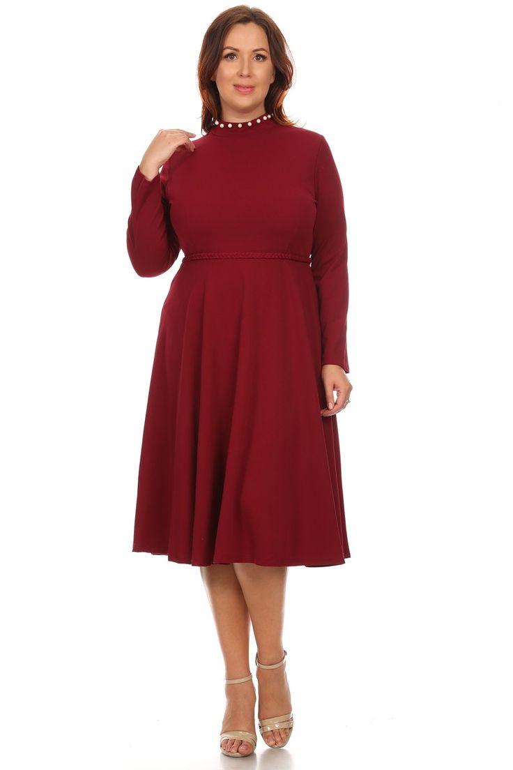 """Красное платье с длинными рукавами Короткое повседневное платье с длинными рукавами, с завышенной горловиной украшенная бусинками,а также плетённый пояс """"косичка"""", платье однотонного красного цвета,на спине потайная застёжка молния, юбка-миди. https://www.fashionusa.ru/upakovki/krasnoe-platie-s-dlinnimi-rukavami-p1612-burg"""