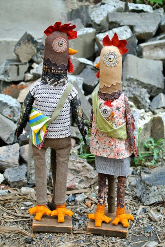 Hipster Chickens Doll Kit by MyDesignFriend on Etsy