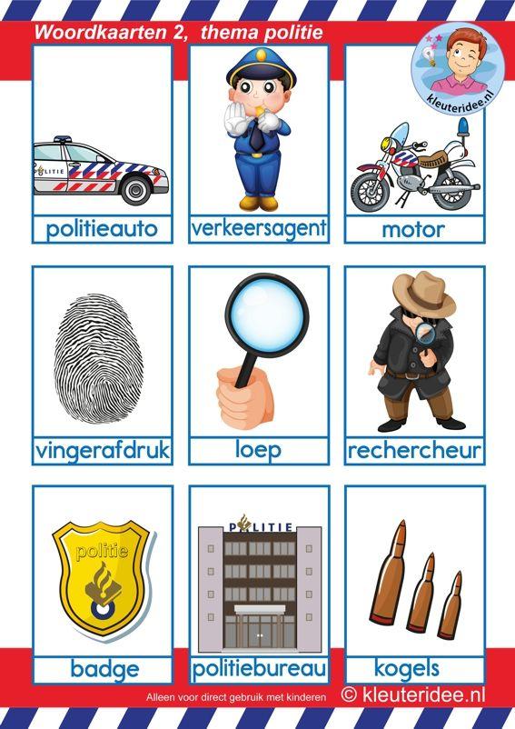 Woordkaarten 2 voor kleuters, thema Politie