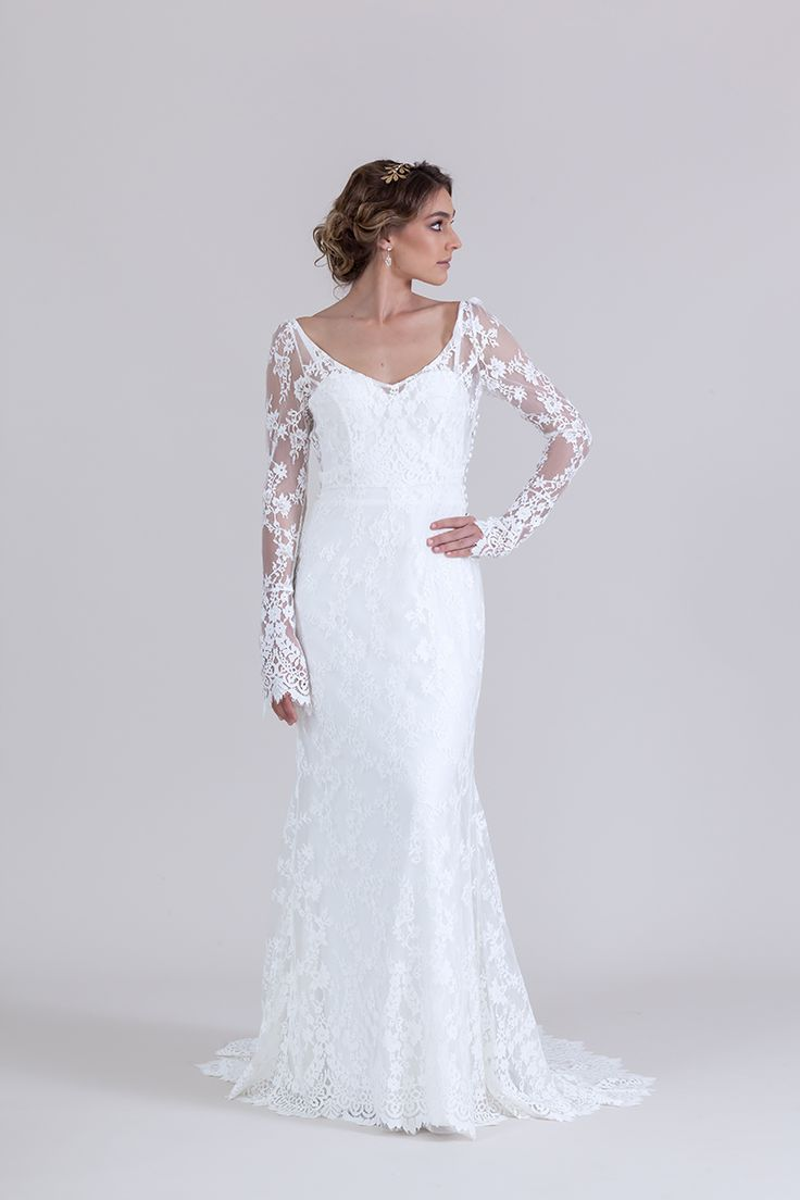 Amelia lace gown with v neck and long sleeves