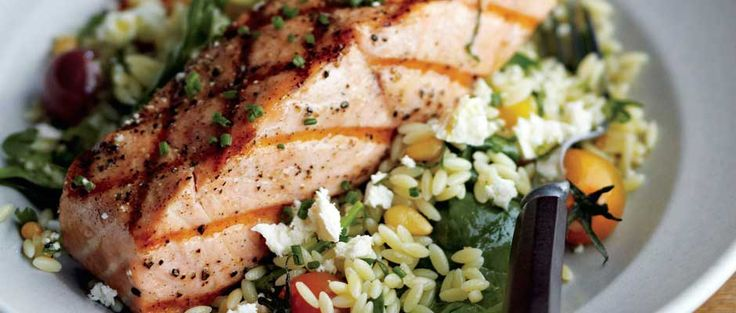 Grilled Salmon with Orzo, Feta, and Red Wine Vinaigrette | Curtis Stone