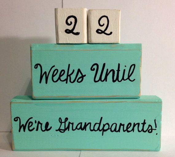 Custom Baby Countdown - Baby Countdown Blocks - Weeks Until We're Grandparents -Weeks Until Baby Arrives-Baby Shower Gift - Mothers Day Gift