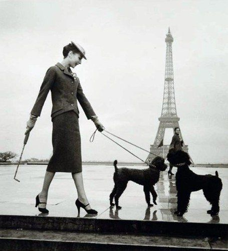Audrey Hepburn in the fashion capital of the world looking elegant as always. Hat, gloves, black pumps, pencil skirt and matching poodles. #styleicon and #modcloth.