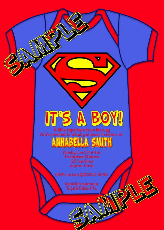 Superhero Superman Baby Shower Itu0027s A Boy Party Invitations U Print Custom  Super