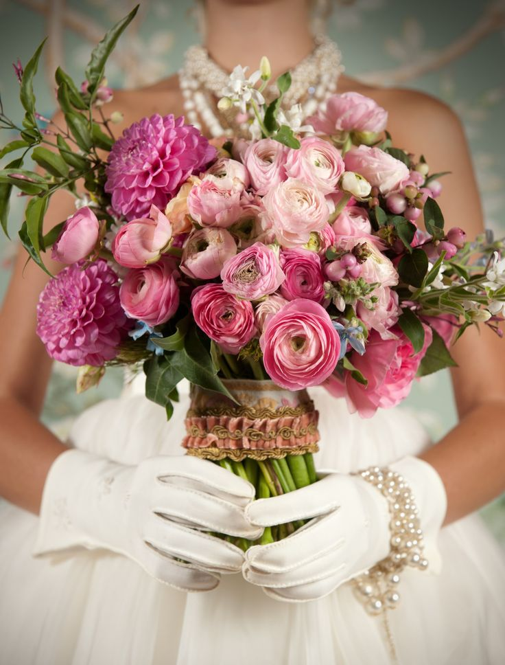 Ranunculus bouquet- they look similar to roses, yet are usually less expensive
