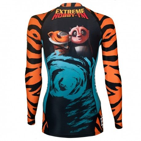 Longsleeve rashguard women TIGRESS. Color: black with orange and blue elements. Excellent quality rashguard HOBBY EXTREME is ideal for hard training people who appreciate the highest class of products. Made of high quality material, which, thanks to its flexibility, clings to the body. Sophisticated thermoregulation system by which the body is dry and the muscles warmed up. Sublimated logos (will not scratch).