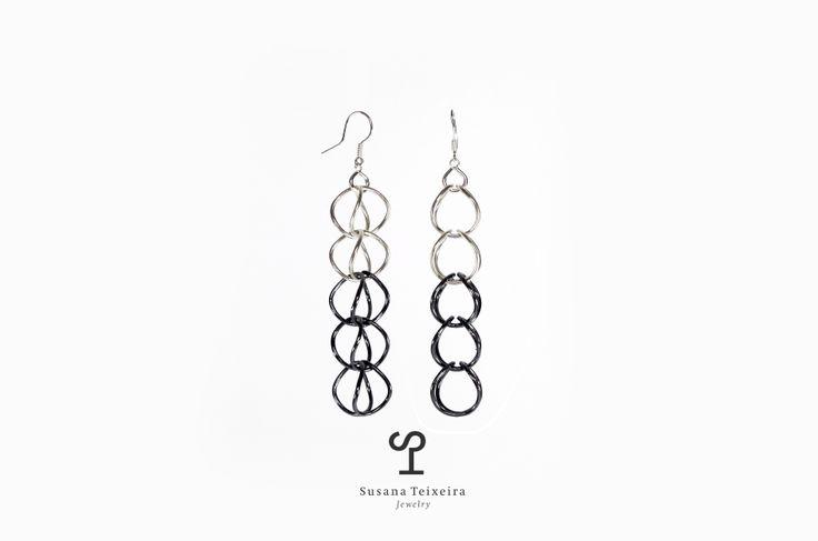 Links series earrings / oxidized silver