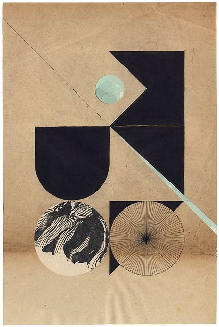 Louis Reith Collage and ink on a book page. 200 x 300 mm