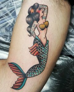 Neo traditional mermaid tattoo by Jessy D