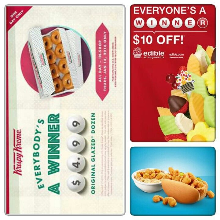 Lottery Day Deals:  Krispy Kreme Doughnuts Get $4.99 Original Glazed dozens on Thursday January 14   Edible Arrangements Bring any Powerball ticket into Edible Arrangements® store through  Friday and get $10 off any order of $29 or more!* Use Code: WINN1136   Krystal Bring your lottery ticket to a Krystal  (1/13) through  (1/17) for a FREE Crispy Shrimp Po'Boy or free Shrimp & Grits with any purchase.   Please share and Enjoy.