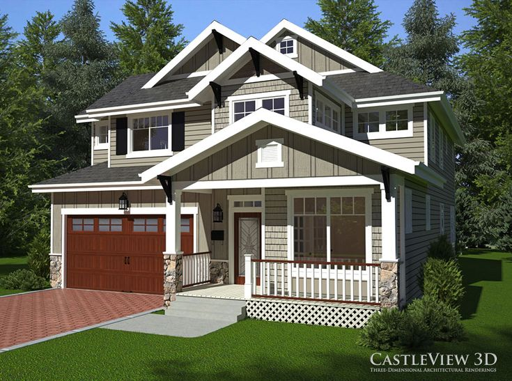 Craftsman Style Home Exterior -- Architectural Rendering by CastleView 3D.  Home designed by Alex