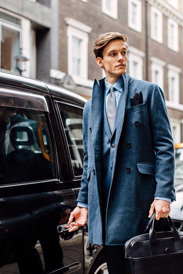Madesino Grey Coat - Perkins Blue Suit - Kearney Blue Shirt - Devino Cream Tie
