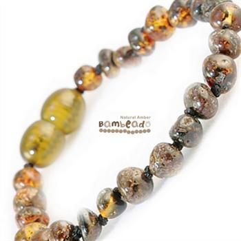 This might help your baby with teething or if your baby has eczema. This amber anklet is a great alternative to slip on underneath clothing while your child is sleeping and can be purchased as a matching set with your amber necklace. Amber bracelets are designed to be worn and not chewed. Each amber anklet has been carefully handcrafted with your babies safety in mind. Each amber bead is carefully rounded and polished to be comfortable against your childs skin.