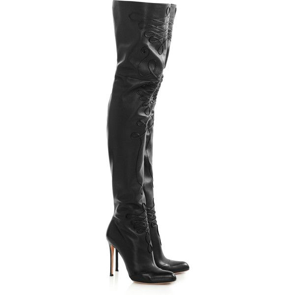 Altuzarra Embroidered leather thigh boots ($935) ❤ liked on Polyvore featuring shoes, boots, black, high heel boots, black boots, over the knee boots, over the knee leather boots and thigh high boots