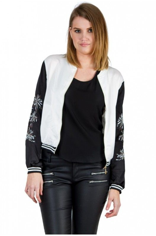 Super trendy palm printed jacket. Exposed zip. Upto 50% off.