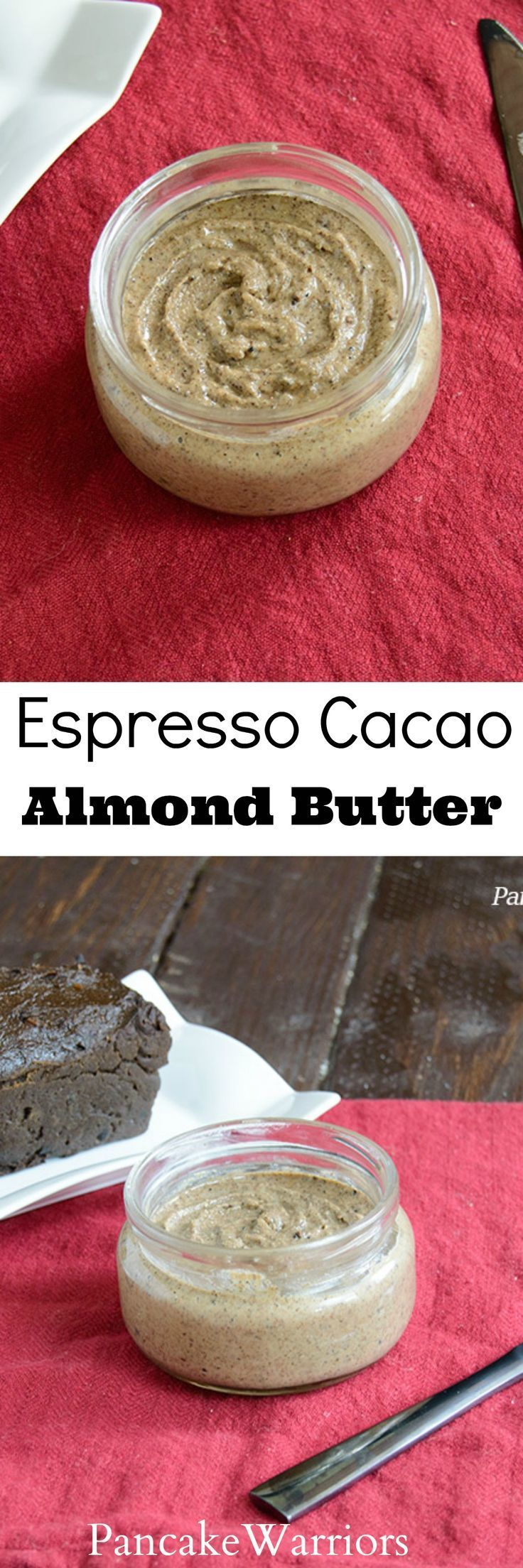 Espresso Cacao Almond Butter - Almond butter with an espresso kick! Easy homemade almond butter recipe, easy and inexpensive! Awesome on oatmeal, in smoothies or on banana!