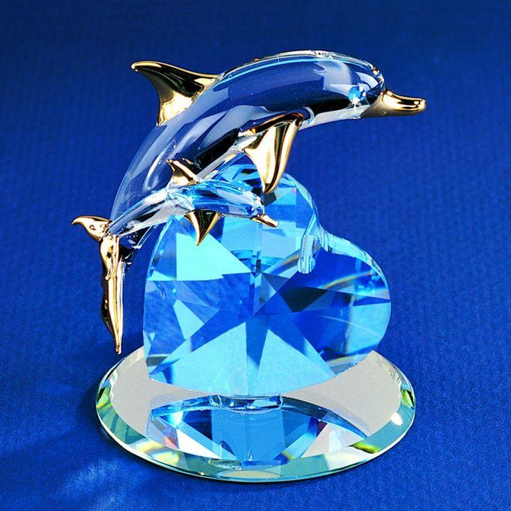 Glass Baron Dolphin with Baby Figurine