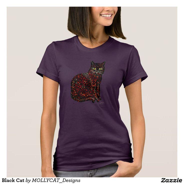 Black Cat T-Shirt @zazzle  #blackcat #fashion #style #cats #girlsfashion #womenswear #casual #artistic #zazzle #paintingsontshirts #luckycat