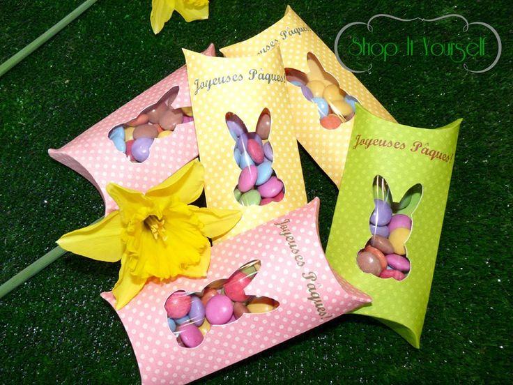 Idée de cadeau d'invité pour Pâques. Kit de réalisation en vente sur le site. Smarties, lapin.  Idea of favors for Easter. Bunny, smarties. DIY
