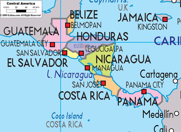Central america map countries and capitals