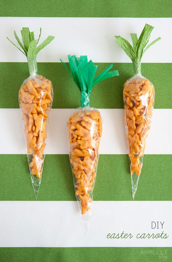"""DIY easter """"carrots"""" made with cheddar bunny crackers. step by step instructions // armelle blog"""