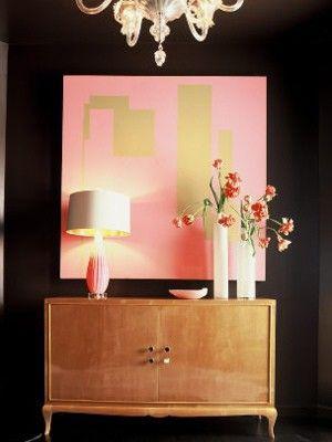 pink and goldWall Art, Black Walls, Color Schemes, Living Room, Dark Walls, Interiors Design, Colors Schemes, Black Gold, Pink Black
