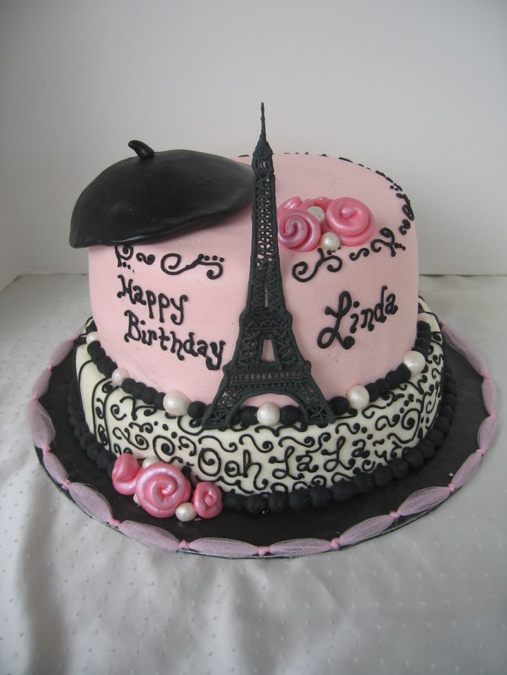 Ooh La La! - Eiffel Tower is made of royal icing. Beret, flowers, and pearls are fondant.