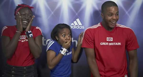 Adidas, sponsor of London 2012 Olympic Games and Great Britain Olympic Team, set up a photo booth for Olympic fans to cheer on the team. Unbeknownst to participants, an appearance in the video by David Beckham. Fan reaction to the photobomb is captured.   #adidas, #sponsorship
