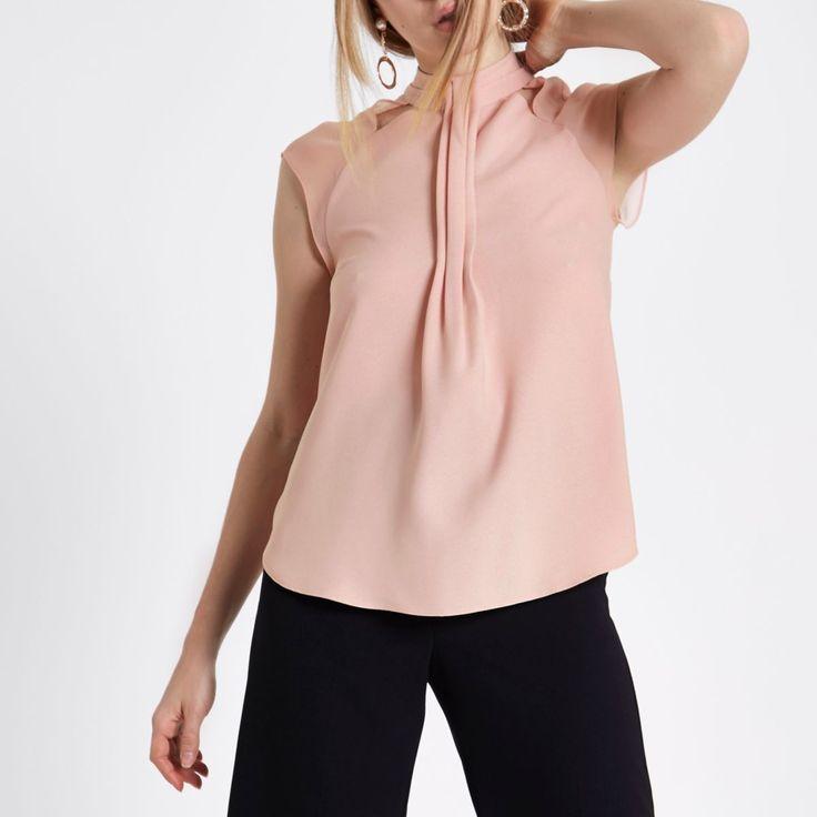 Z2018  Pink  high neck chiffon top