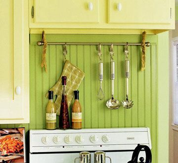 Do It Yourself Utensil RackCurtain Rods, Curtains Rods, Small Kitchens, Towels Racks, Tension Rods, Kitchens Utensils, Storage Ideas, Kitchens Storage, Retro Kitchens