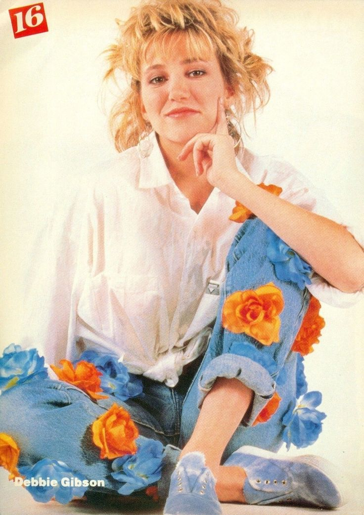 Pin By Debbie Smith On Bathroom Ideas In 2019: DEBBIE GIBSON 80'S 16 PINUP With Flowers On Her Jeans