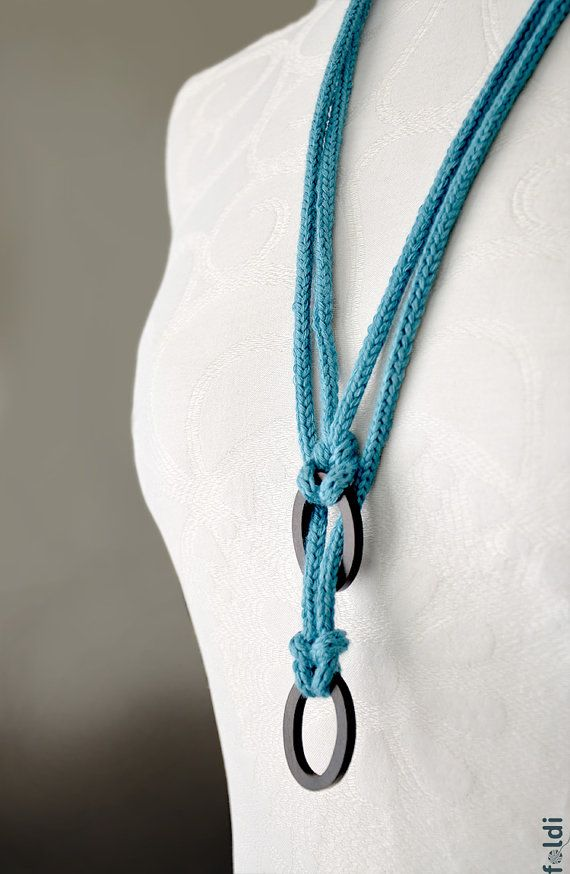 Knitted necklace fiber jewelry necklace with ebony wood rings, turquoise fiber necklace, blue knitted jewelry