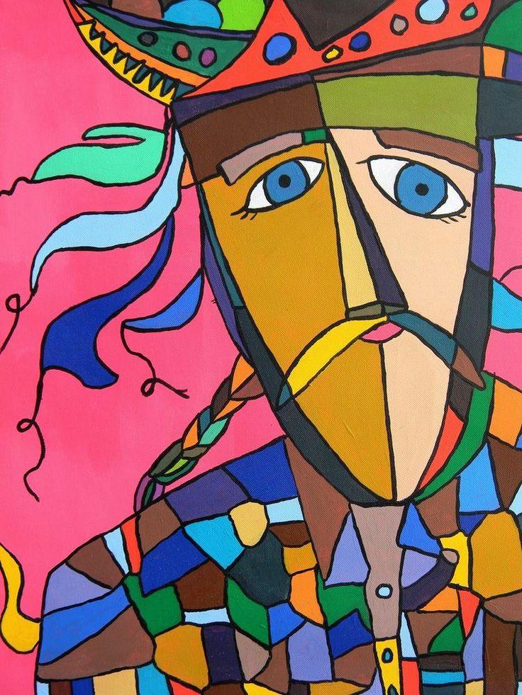 Abstract Original Acrylic Folk Mask Painting on Canvas Figurative  Wall  Art #OutsiderArt