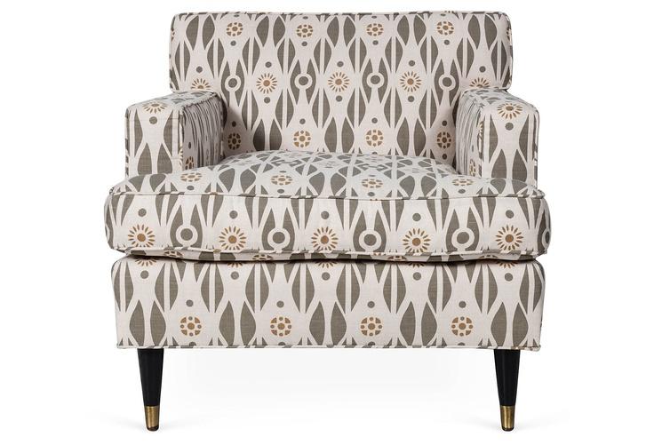 One Kings Lane - Joe Lucas & Parrish Chilcoat - Chair Upholstered in Pintura Studio's Kamofleur Kollection-Astrid   www.kamofleur.com