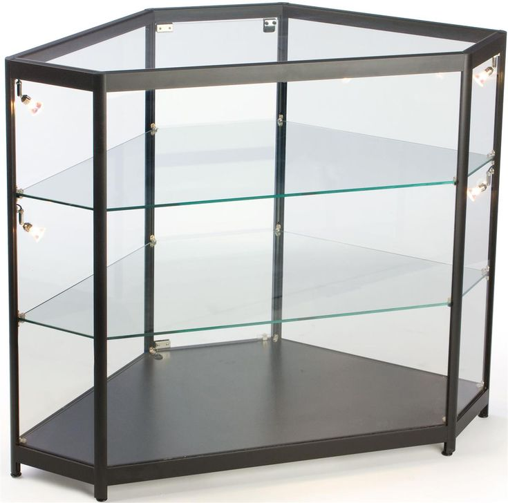 corner retail display case wside lights hinged door ships assembled