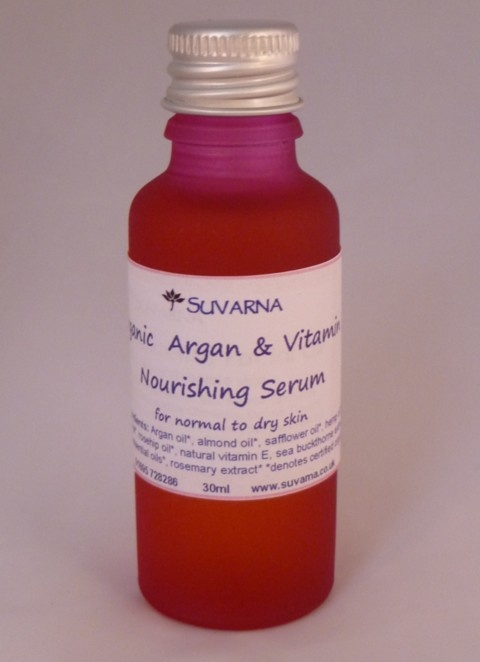 A nourishing treat for my skin, now that the cold is drying it out - Argan and Vitamin E Nourishing Serum, now in Suvarna's seasonal Special Offers