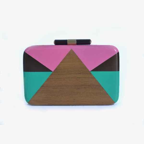Love triangle (pink )clutch - #rachanareddy #bag #clutch #woodenclutch #wood #fashion #art #design #designer #elegant #painted #graphic #print Shop here: www.rachanareddy.com