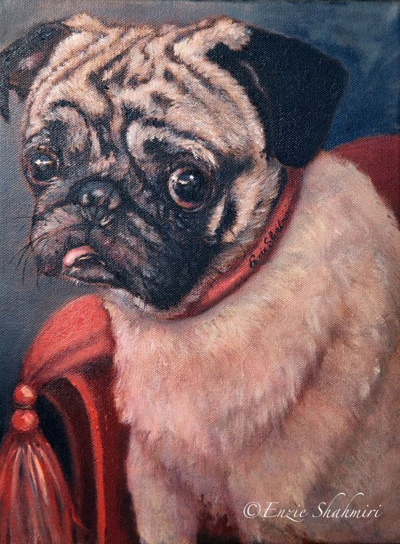 This pug oil painting embodies that look a dog owner gets, when the favorite pooch was caught doing something it should not have done.The