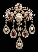 Diamond. Pearl and Ruby Brooch