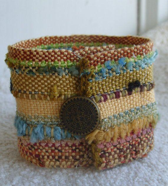 Handwoven Cuff Fiesta Fabric Bracelet by barefootweaver on Etsy