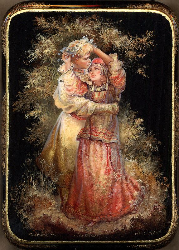 Russian lacquer miniature from the village of Fedoskino. Young couple in traditional costumes