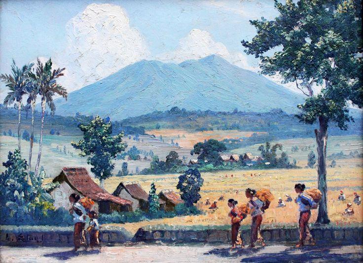 Leo Eland - zonnig sawahlandsschap met Gunung en figuren langs de weg.