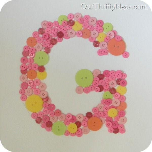 Button Letter on Canvas