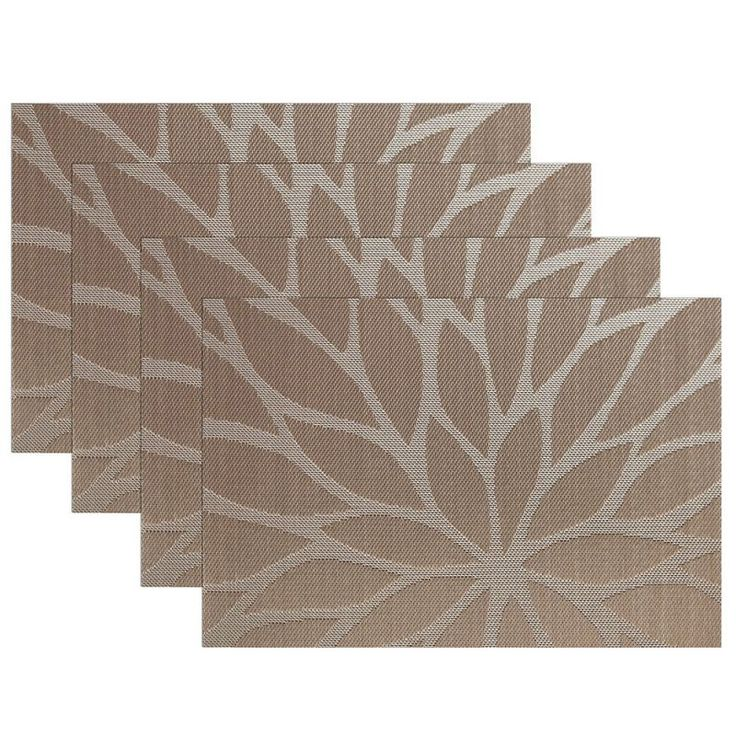 SiCoHome Placemats Dining Room Placemats For Table Heat Insulation  Stain Resistant Woven Vinyl Kitchen PlacematsSet Of Leaf Brown)