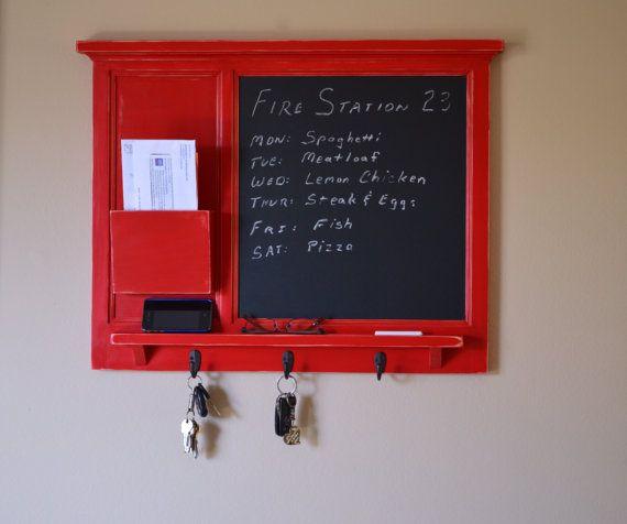 Chalkboard Mail Organizer letter holder  Key / Coat / Hat rack - RusTic - Home Decor on Etsy, $140.00