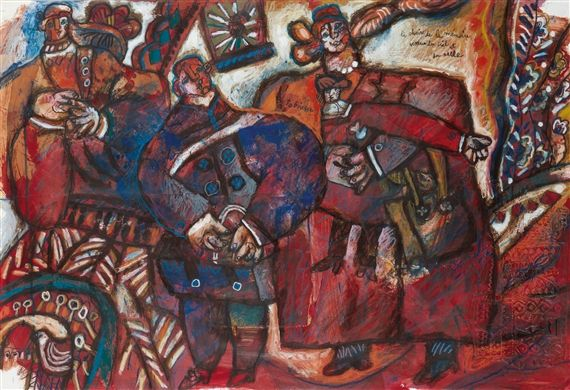 Theo Tobiasse La chair de la mémoire venue du ciel et du sable 27.17 X 39.76 in (69 X 101 cm) oil and crayon on paper Signed