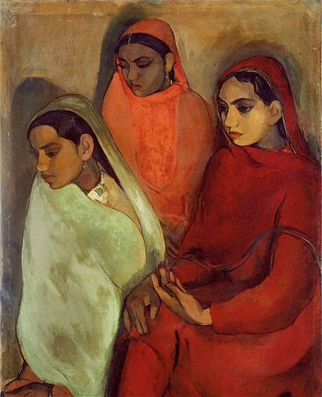 Three Girls by Amrita Sher Gil 1935. Always loved the way her Indian women often have this apathetic, redundant positioning to their hands. Well observed.