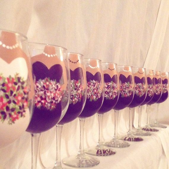 Set of 12 custom hand-painted wine glasses for by GlassesWithClass