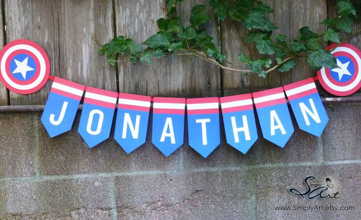Birthday Party Banner BOYS Custom Name Blue Red White Super hero Captain America Shield Star