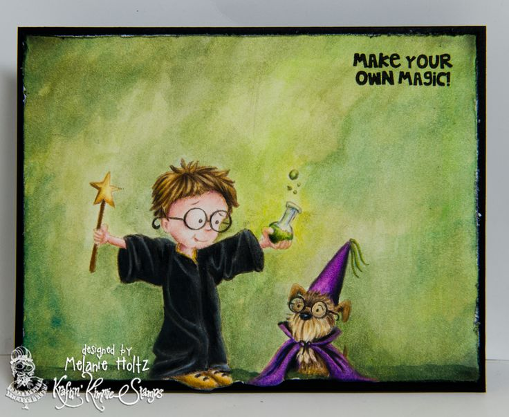 """Make Your Own Magic"" from the Kraftin' Kimmie Stamps July 2016 release! Image coloured with Polychromos pencils, background coloured with Derwent Inktense blocks."